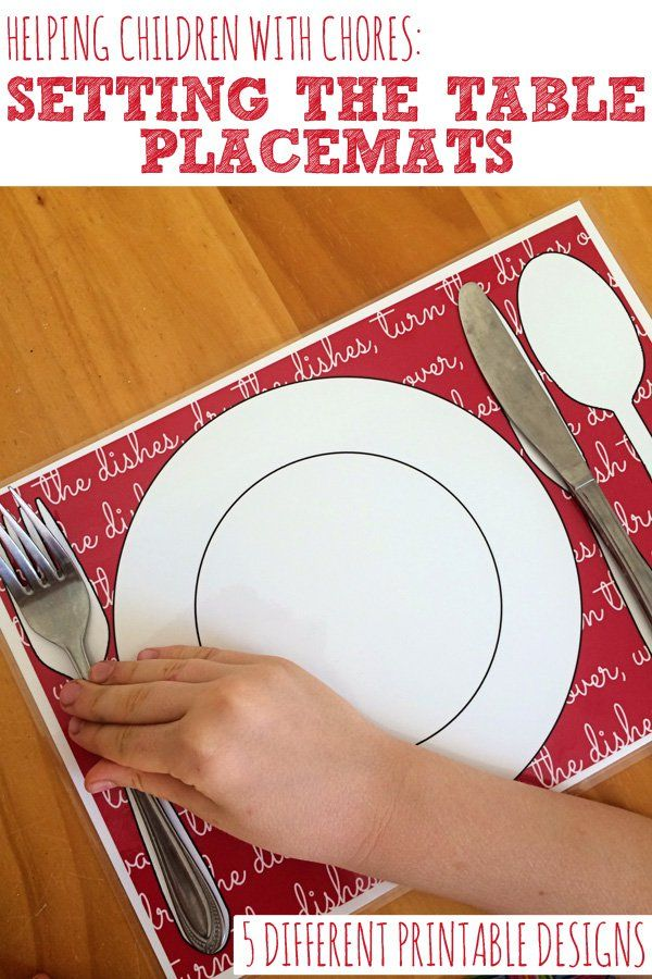 A handy printable placemat that will make setting the table easy for children of any age.