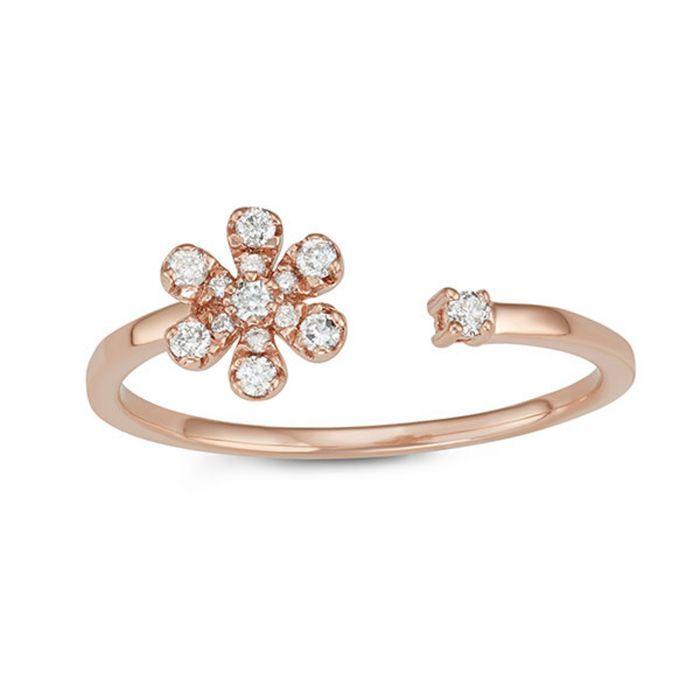 Open Wrap Daisy Diamond Ring In 10k Rose Gold Favorite Engagement Rings Rose Gold Diamond Flower