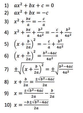 formula de la ecuación cuadrática