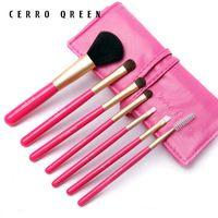 2015 nuevos calientes Cerro Qreen 7 pic pelo de caballo pura portátil de marcado cepillo juegos de herramientas y Kits pintura suelta delineador pincel de sombra de ojos