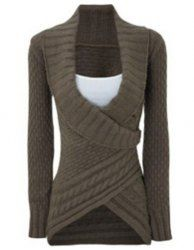 Chic Turn-Down Neck Long Sleeve Asymmetrical Sweater For Women (DARK KHAKI,M) | Sammydress.com Mobile