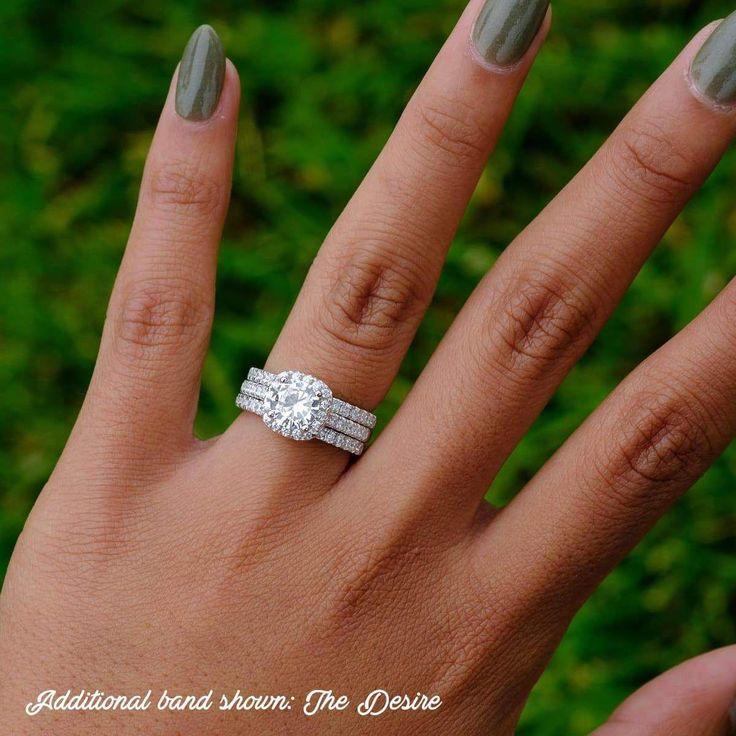 Cushion Halo Engagement Ring Set   Half Eternity Wedding Band – Modern Gents Tra…