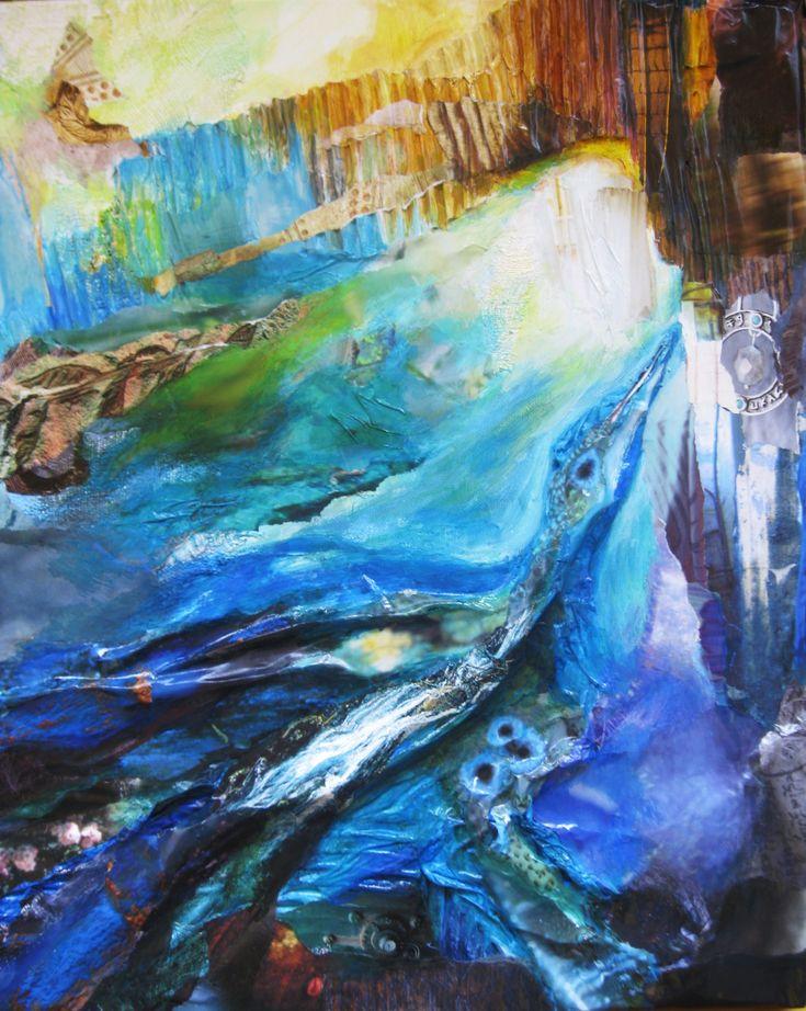 The awaking of Phoenix. Het schilderij uit mijn Fenix - serie laat de fenix zien die ontwaakt en nieuw leven in zich voelt. - Met de serie wil ik de kringloop van vreugde en verdriet en verbinden en weer loslaten, leven en dood en weer tot leven ontwaken laten zien, de kracht van het eeuwige Zijn en van transformatie. Ricarda Zielonka