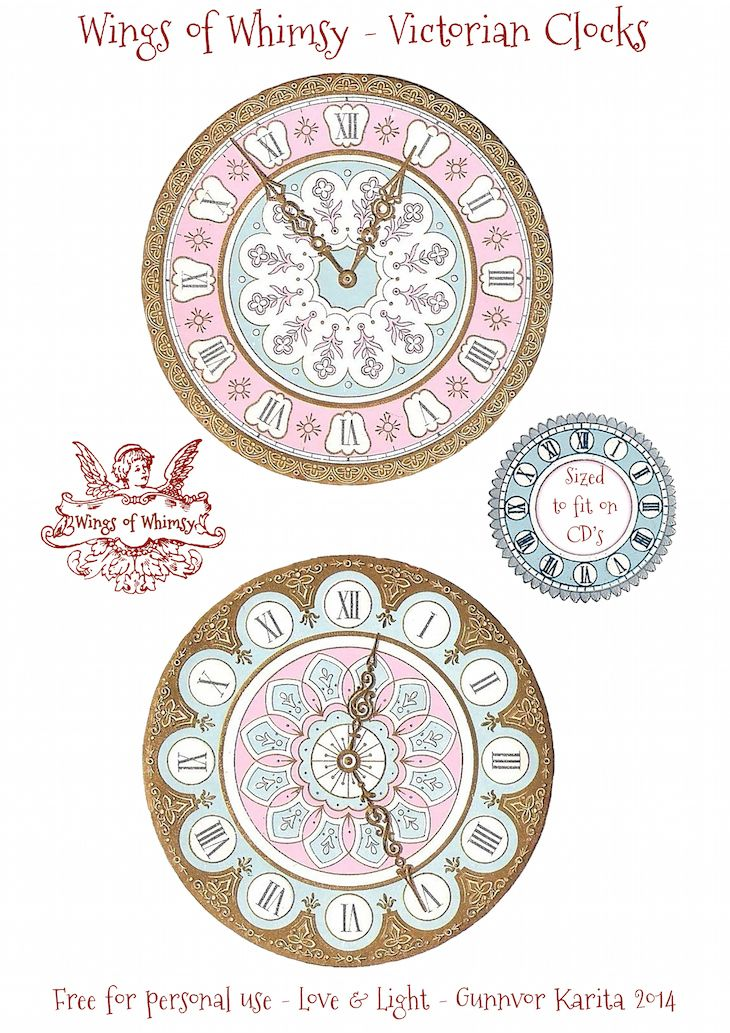 Wings of Whimsy: Victorian Clocks - Sized to fit on CD's~ use for Christmas or New Year ornaments!