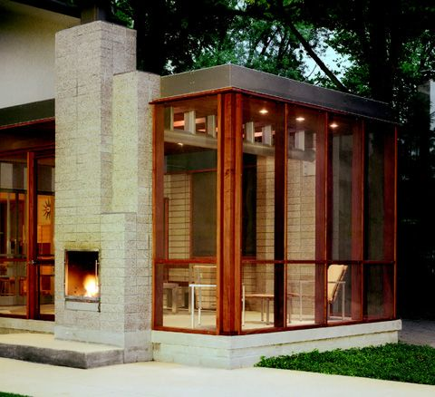 "Spectacular modern screened porch with fireplace.  Designed by Ruth Gless of Lincoln Street Studio: http://www.lincolnstreet.com/make/architecture/grumman.html  ""Grumman Porch""  Photos by Feinknopf Photography."