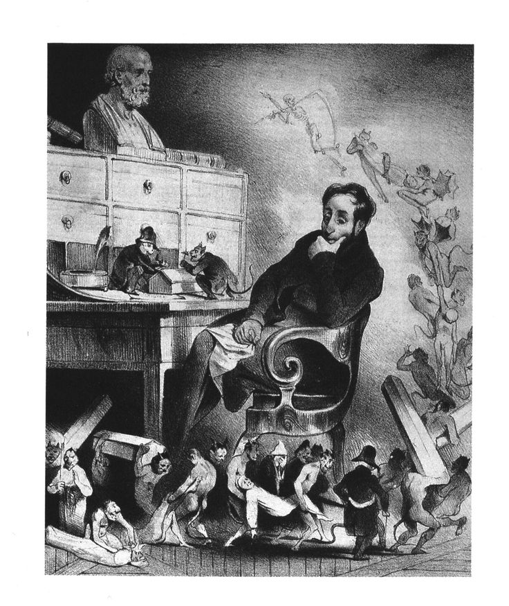 """Honore Daumier, The Physician (1833, lithograph) 1831-32 Cholera Epidemic   Translation of caption:   """"How the devil does it happen that all my patients succumb? . . . I bleed them,   I physic them, I drug them. . . . I simply can't understand it."""""""