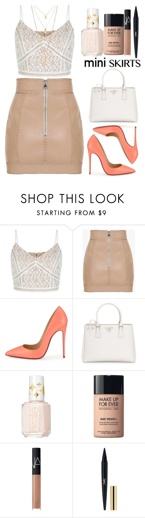 """Mini Me: Cute Skirts"" by lovesammi98 ❤ liked on Polyvore featuring Balmain, Christian Louboutin, Prada, Essie, MAKE UP FOR EVER, NARS Cosmetics and Forever 21"