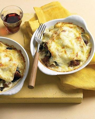 Individual Swiss Chard and Italian Sausage Lasagna Recipe: Chard Recipes, Italian Food, Individual Swiss, Italian Sausages, Martha Stewart, Lasagna Recipes, Swiss Chard, Chard Lasagna, Sausages Lasagna