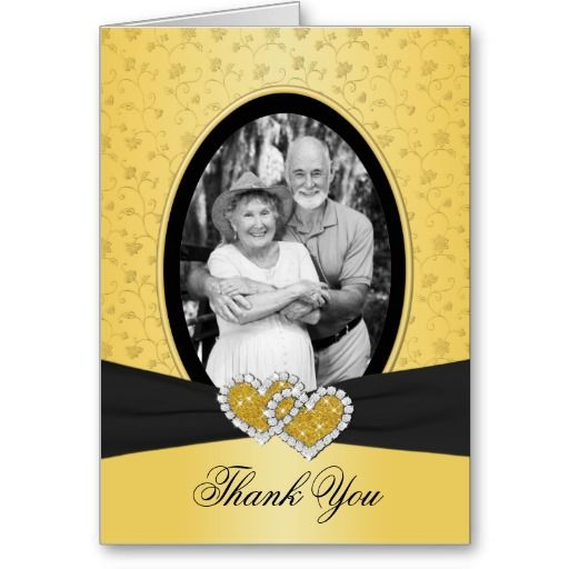 50th Anniversary Hearts II Thank You Card (Photo)