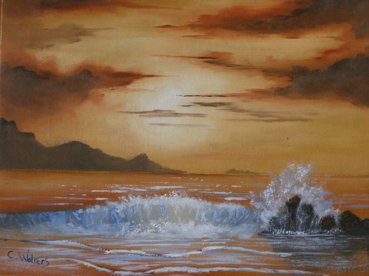 Seascape oil painting by colin walters 16 x 12