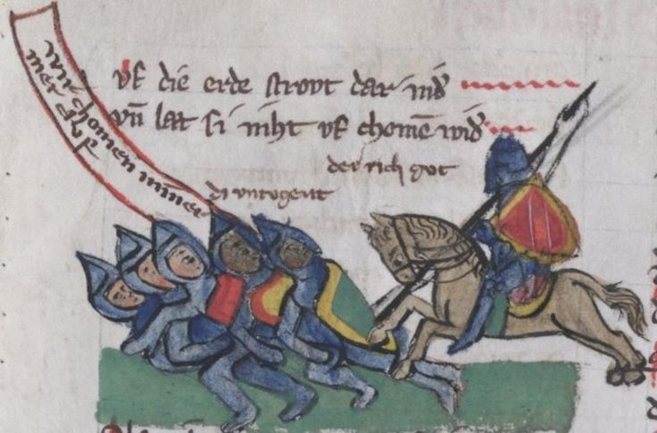 via @medievalpoc/@melibeus1 Stuttgart, Württembergische Landesbibliothek, Cod. poet. et phil. 2° 1  Thomasin <Circlaere>    Welscher Gast (S) — Regensburg?, 1328/1359, f. 61v