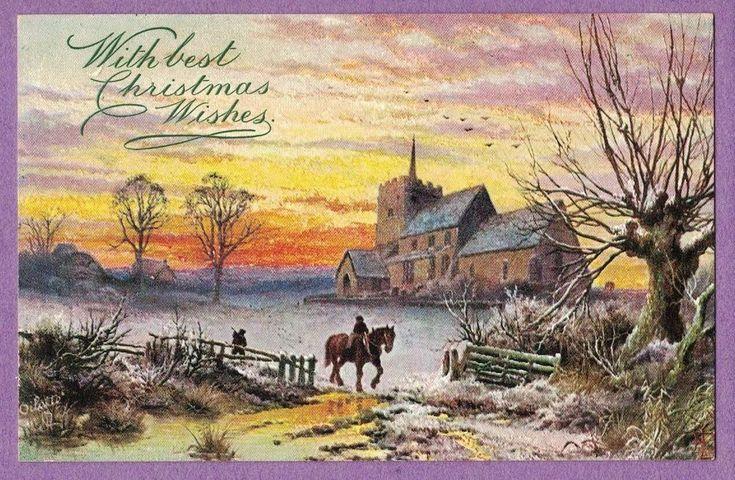 0617G  CHRISTMAS VTG PC TUCK OILETTE GLORIES OF WINTER HOMES MAN HORSE SUNSET  #Christmas