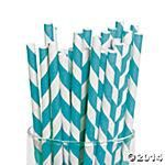 HAVE THESE Turquoise Striped Paper Straws