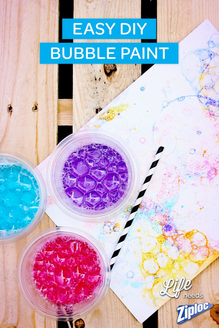 Fun outdoor craft for kids! DIY bubble paint is a great way to get kids playing outside and away from TV. And it makes such a pretty work of art. Perfect for after school or weekend activities!