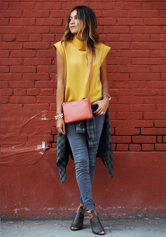 Jeans: J Brand Luxe Sateen  Blouse: Zara  Plaid shirt: Current/Elliot  Heels: 3.1 Phillip Lim  Bag: Céline