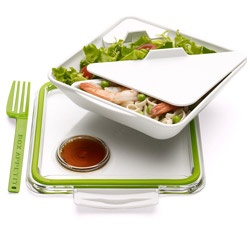 Bon Appetit Lunch Container by Daniel Black & Martin Blum: Well designed lunch box with a lockable clear lid with integrated dipping well, a sauce pot, a removable food compartment and a fork. Microwave and dishwasher safe. Made of Polyprophylene, BPA free. $22.