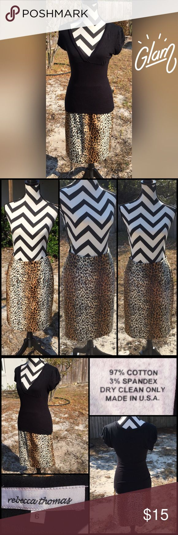 """Faux Fur Cheetah Skirt Rebecca Thomas size 6 cheetah print skit. Faux fur feel with black lining underneath so no need to wear a slip. Zips in back. 97% cotton, 3% spandex. Dry clean only. Excellent preowned condition. 22.25"""" length, 27"""" waist, 4.5"""" slit in the back center of Skirt. Rebecca Thomas Skirts Midi"""