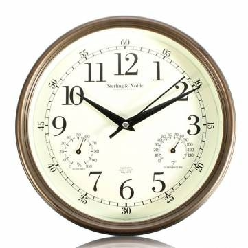 Vintage Silent Wall Clock Temperature Humidity Thermometer Hygrometer Home Cafe Modern Wall Decor Gift at Banggood