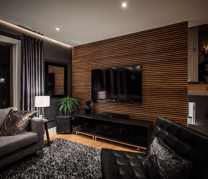 Wooden Striped Feature Wall Black Leather Sofa Grey Sofa Black Cabinet In 2020 Modern Living Room Black Accent Walls In Living Room Living Room Tv Wall #wood #accent #wall #ideas #living #room