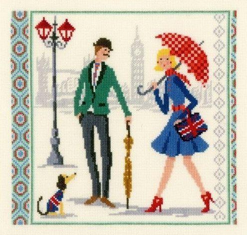 0 point de croix femme parapluie et anglais londres - cross stitch london girl with umbrella and gentleman
