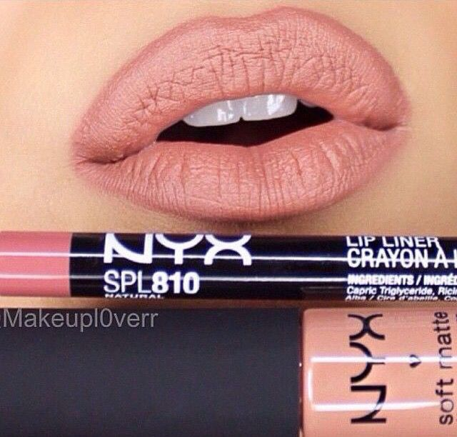 "NYX Lip liner ""natural"" and soft matte lip cream ""London"""