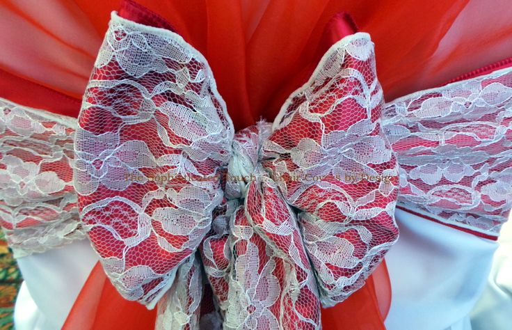 Red Organza Chair Shawl with a Double Red Organza and Lace Bow    The Sophisticated Touch ...Chair Covers by Design