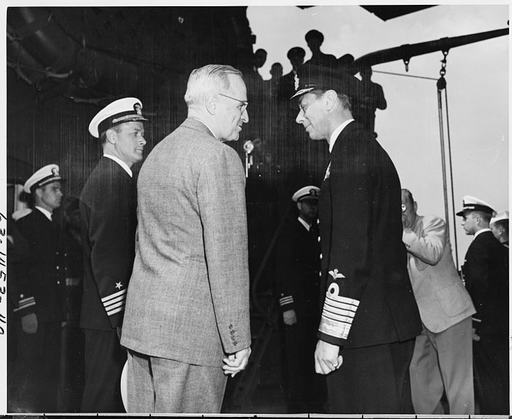 President Harry S. Truman and King George VI of England aboard the U. S. S. Augusta off the coast of Plymouth, England. President Truman is preparing to return to the United States after attending the Potsdam Conference in Germany.