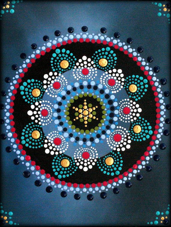 Pintura de Mandala de la flor de loto por por ArtbyKirstyRussell                                                                                                                                                                                 Más