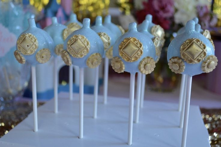 Cinderella carriage cake pops by Just a Bite Creations.