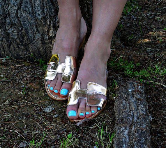 Hermes Leather Sandals, Gold H Slides, Greek Leather Sandals,  Gold Greek Sandals, Leather Slides