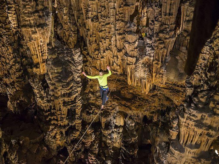 Highlining in the Grotte des Demoiselles, France