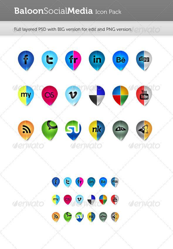 Baloon Social Media Icon Pack