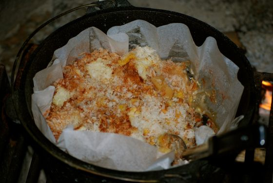 Apple Pineapple topped with coconut Dump Cake for the Dutch Oven!