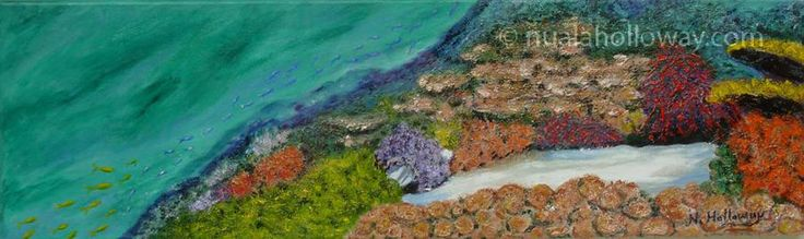 """Coral Garden"" by Nuala Holloway - Oil and Sand on Canvas  Part of Nuala's ""Coral Collection"" bringing attention to the beauty of this endangered Oceanic eco-system #IrishArt #Ecosystem #Coral #Oceans"