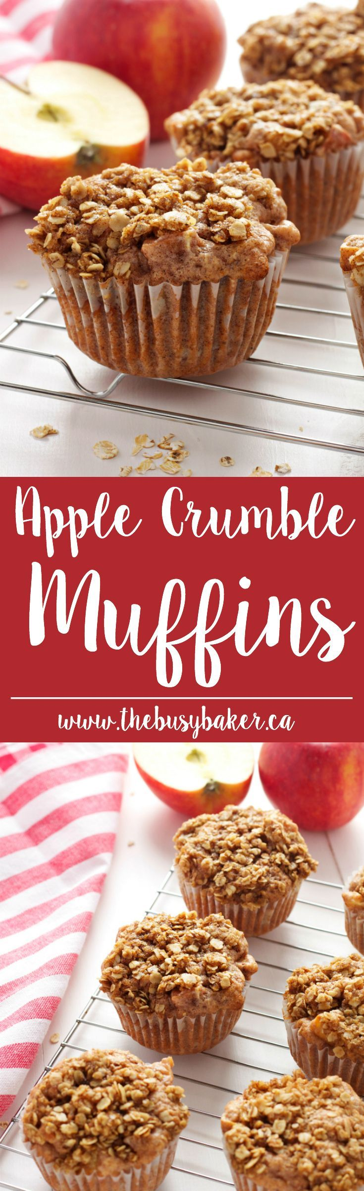 These Apple Crumble Muffins are delicious dessert-inspired muffins made with fresh apples and a delicious crumble topping! Recipe from thebusybaker.ca!