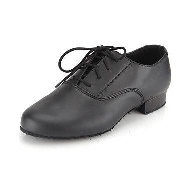 miúdos+não+customizáveis+'/+dos+homens+sapatos+de+dança+de+salão+/+leatherette+calcanhar+moderno+preto+liso+–+EUR+€+22.04