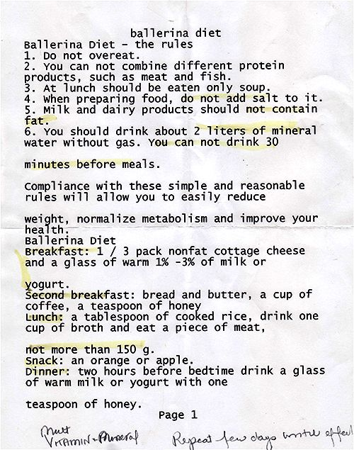 Ballerina diet. Not totally wise through and through, but some ideas are great!