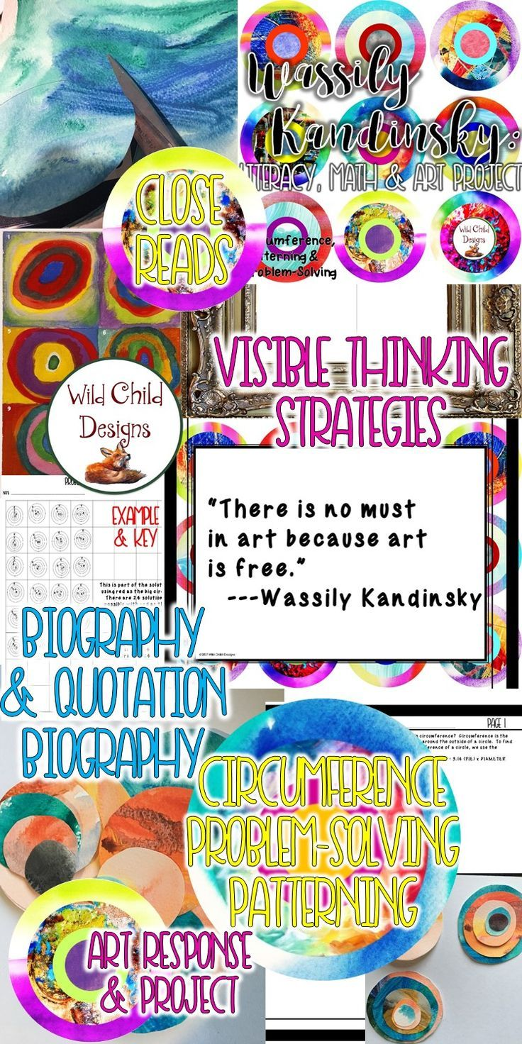 Perfect for grades 5th-7th, this project includes literacy, art, and math activities! Students engage in art response, close reading strategies, explorations of circumference and problem solving strategies, finally creating their own Kandinsky-inspired art work! Brought to you by Wild Child Designs.