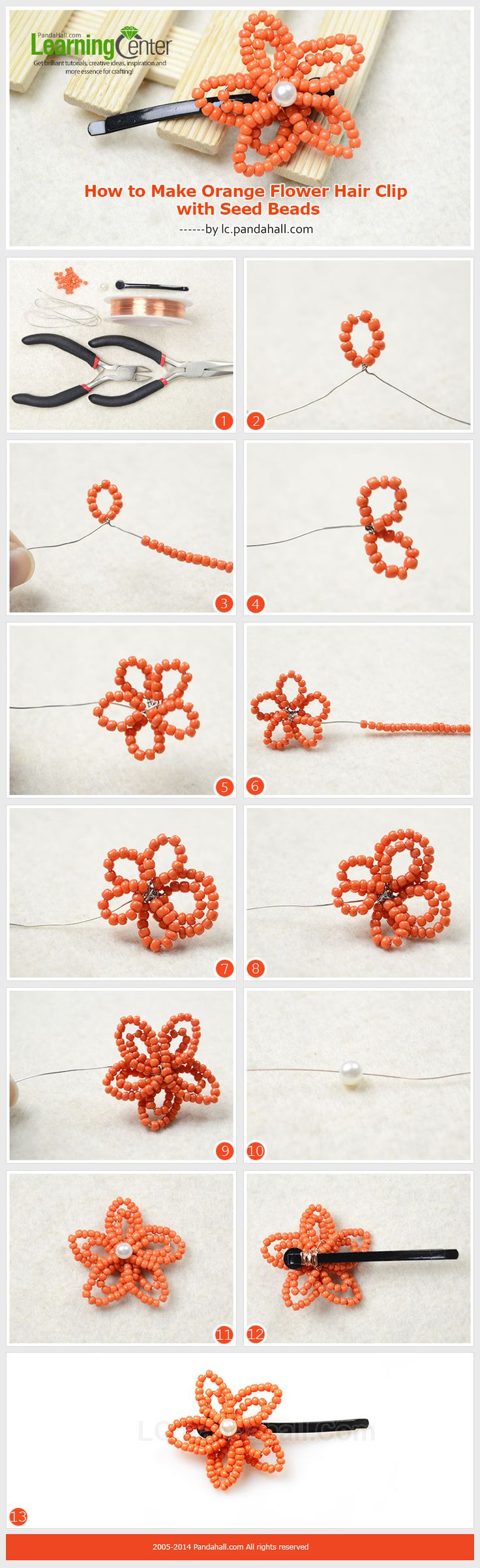 How to Make Orange Flower Hair Clip with Seed Beads