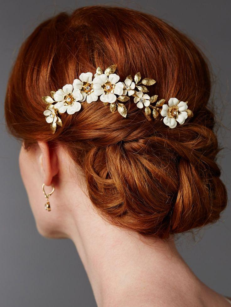 Hand Enameled Gold Tea Rose Designer Bridal Comb