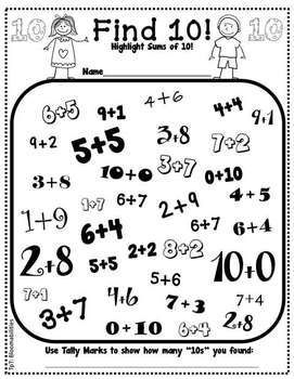 "Freebie! Great exposure for ways to make ten - This can easily be changes to ""Find 100"" or ""Find 1,000"" for older students. You can even include all four operations!"