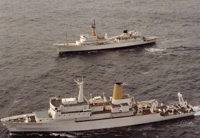 HMAS Moresby (II) and HMAS Cook at sea.