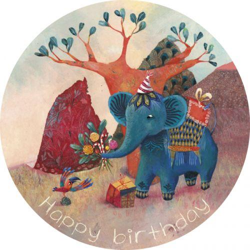 """Izou carte postale ronde  """"Happy Birthday"""""""