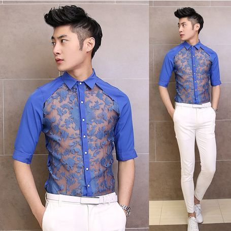 2014 New Sexy Perspective Lace Dress Shirt Fashion Cool Men Club