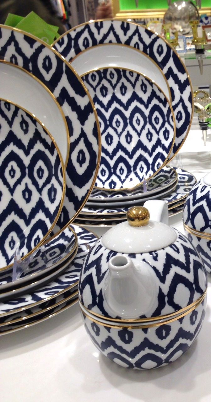 LOVE this ikat print dish set http://rstyle.me/n/mwhdvnyg6