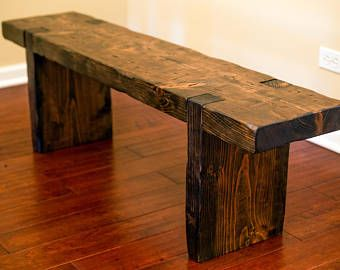 Reclaimed wood bench, salvaged rustic beam