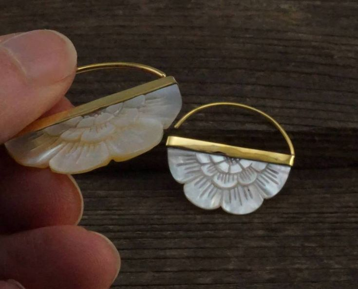 Amazing Small Hand-Carved Mother of Pearl Flower Earrings with Brass bezel
