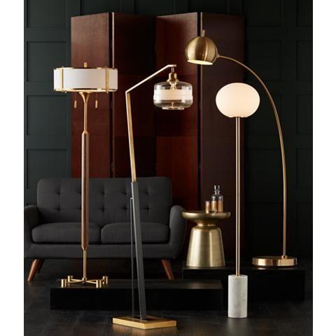 kasmir chairside arc floor lamp antique brass and black