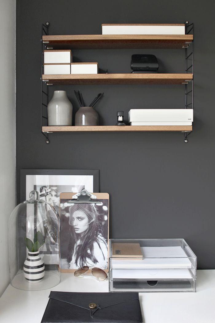 String shelf, Home office, black, workspace, Scandinavian