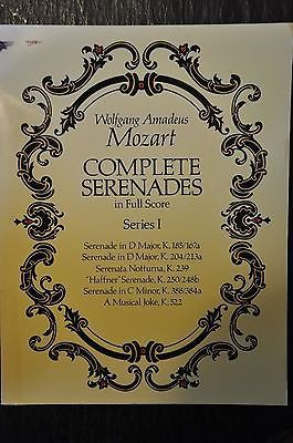 Complete Serenades in Full Score Series No. 1 by Wolfgang Amadeus Mozart Book is in very good condition. Spine is uncreased. No writing or highlighting in the text. Ex-library but the only marks are a
